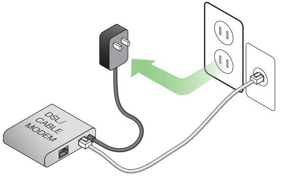 Imagem mostrando os cabos DSL e modem para conexão do roteador de IP 192.168.2.1