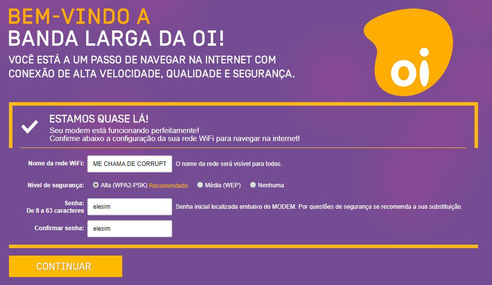Imagem mostra a tela de definição do nome e senha da rede wifi