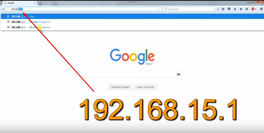 Imagem do navegador Chrome mostrando o endereço 192.168.15.1
