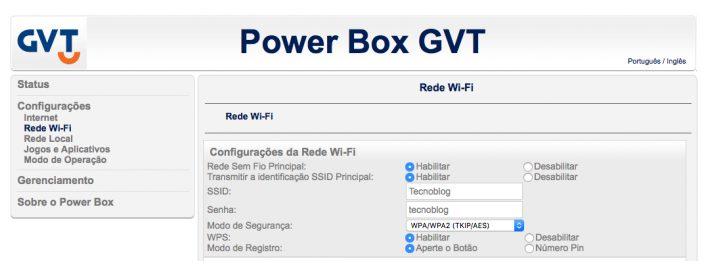 Imagem do Roteador Power Box GVT de acesso pelo IP 192.168 25.1