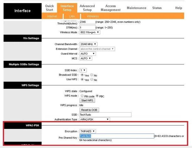 Exemplo de tela de troca de senha de Internet VIVO utilizando um roteador TP-Link como exemplo