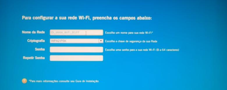 Imagem sobre a configuração da rede wifi junto ao processo do wizardoi