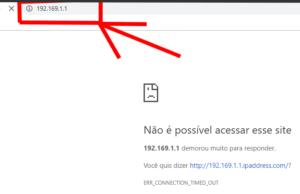 Imagem que demonstra uma falha do login por digitar errado o IP 192.168.1.1