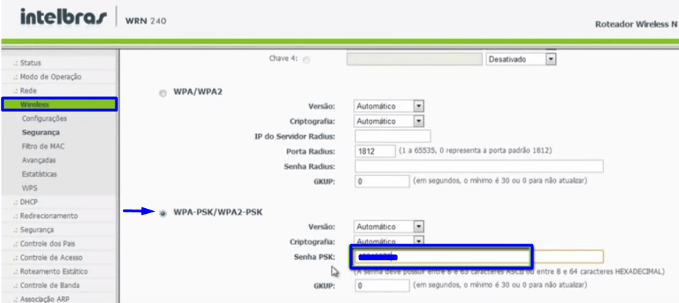 Imagem mostra tela do menu wireless do roteador intelbrás WRN 240