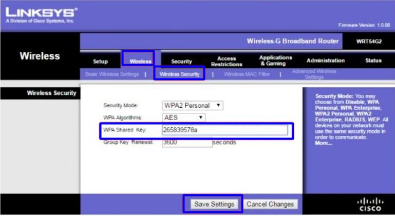 Imagem mostra tela wireless da letra  do roteador LinkSys