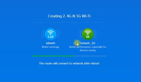 Imagem mostra duas redes wifi sendo criadas, uma de 2.4G e outra de 5G