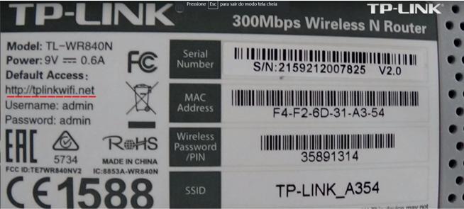 Imagem mostra dados de login do roteador da tp-link