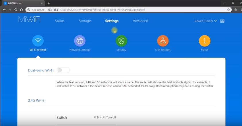 Imagem mostra a área Settings dentro do painel do roteador da Xiaomi