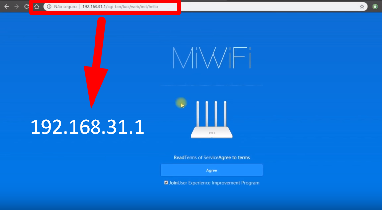 Imagem mostra a tela de login do roteador xiaomi 3, acessada pelo endereço http://192.168.31.1