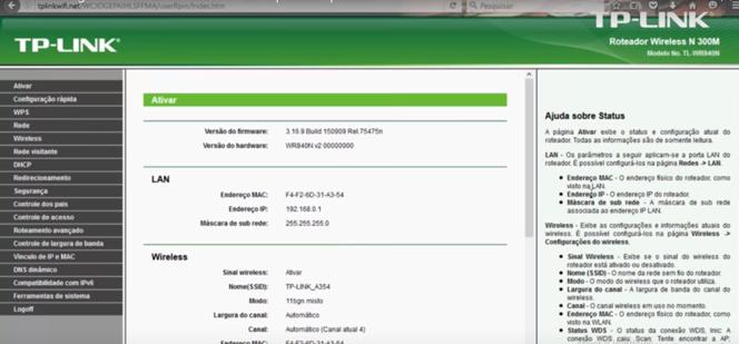 Imagem do painel de configuração do roteador tp-link acessado pelo endereço http://192.168.1.1
