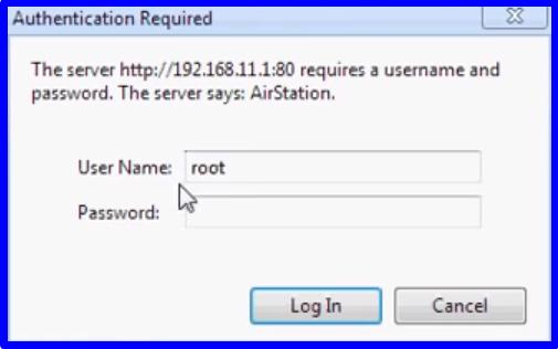 Tela de autenticação do roteador buffalo de endereço 192.168.11.1 e User name root