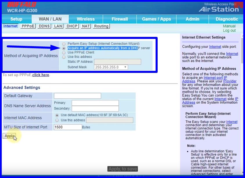 Imagem mostra o painel do roteador buffalo na parte WAN/LAN
