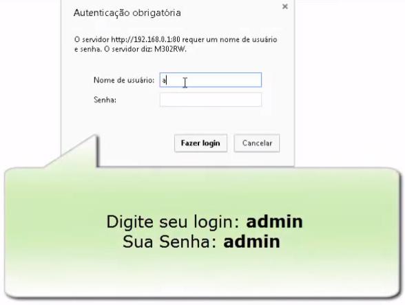 Imagem mostra a tela de login do administrador da rede no roteador modelo pixel Ti M302RW