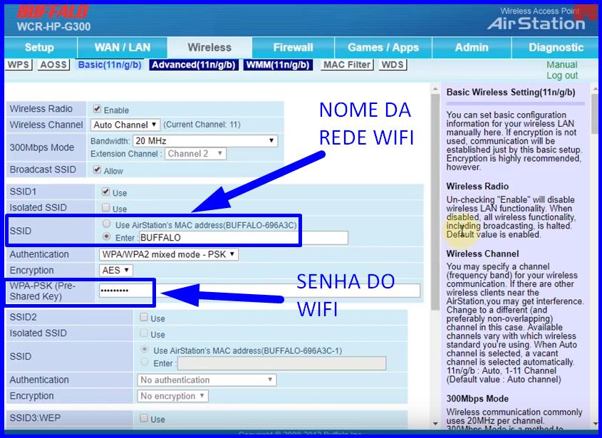 Imagem mostra onde se deve colocar o nome e a senha da rede wifi no roteador buffalo