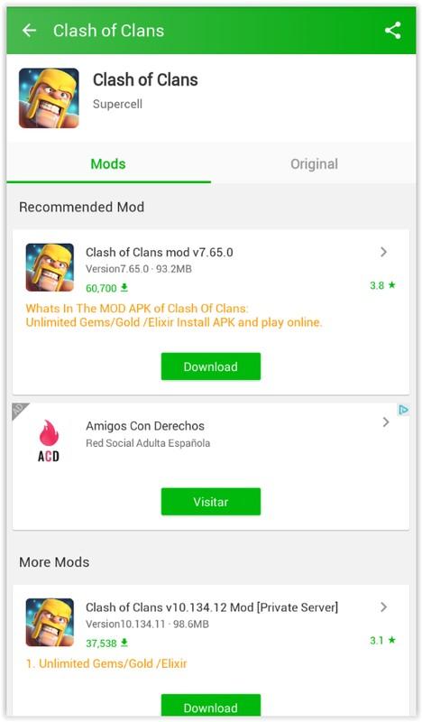tela do happymod exibindo o jogo clash of clans mod