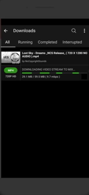 Tela de download do videoder
