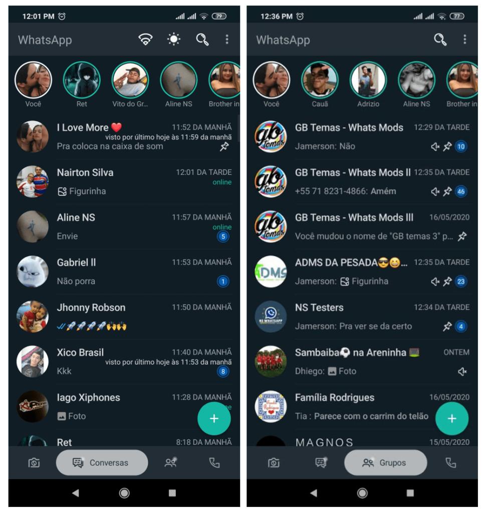 Imagem mostra a tela de conversa do NS WhatsApp Atualizado 2021 na parte de grupos e chats comuns