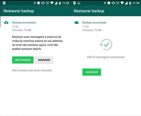 restaure o seu backup a partir do whatsapp