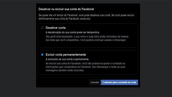 como excluir a minha conta do facebook