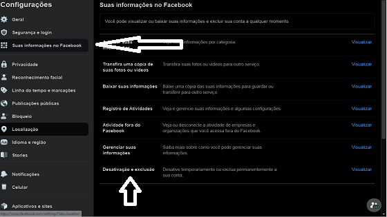 excluir de forma definitiva a conta do facebook