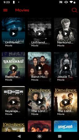 menu de filmes do app flixtv