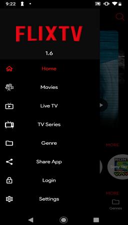 captura de tela do app flixtv para android