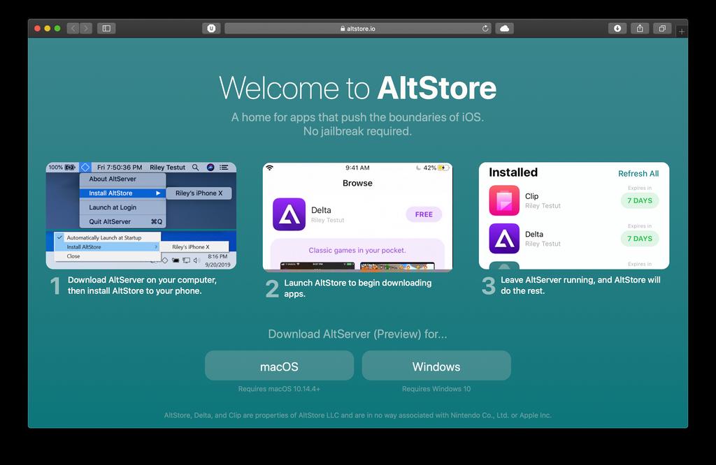Imagem mostra a tela do site oficial da AltStore