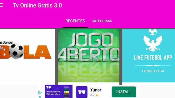 imagem mostrando a canais do app tv online gratis