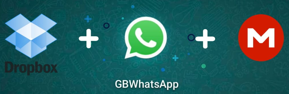Imagem mostra os símbolos do dropbox e mega representando a opção de backup do GB WhatsApp