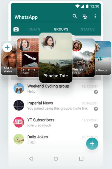 Imagem mostra o whatsapp gb e seus múltiplos temas