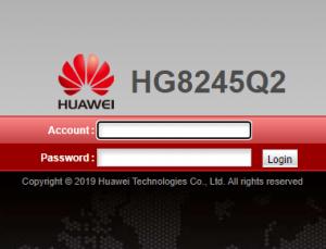 Modem Huawei de acesso pelo IP 192.168.100.1